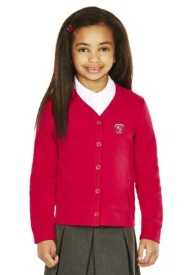Girls Embroidered Cotton Blend School Sweatshirt Cardigan with As New Technology 2-3 years Red
