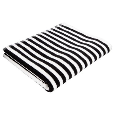 Tesco Black White Stripe Bath Towel