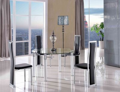 Torino Round Glass Extending 74 - 120 cm Dining Table with 6 Black Elsa Chairs