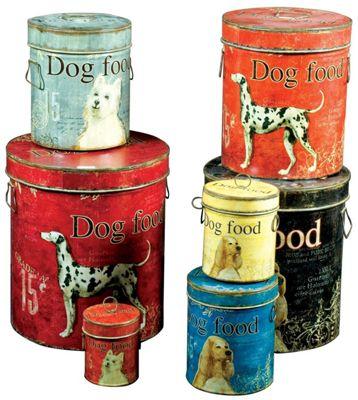 Set of 7 Dog Food Tins