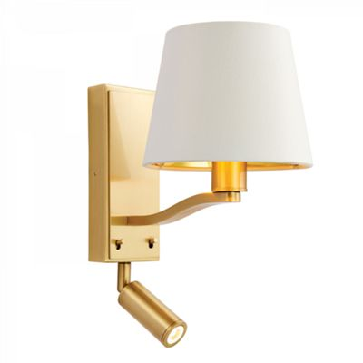 Satin Brushed Gold Effect Wall & Spotlight With Vintage White Shade - 40W & 3W