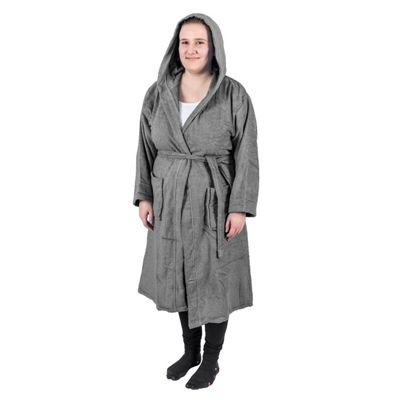 Homescapes Charcoal Grey 100% Combed Egyptian Cotton Hooded Adults Unisex Bathrobe, L/XL