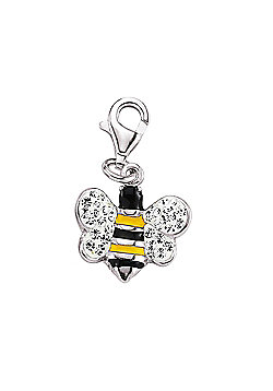 Rhodium Coated Sterling Silver White Crystal Bee Link Charm