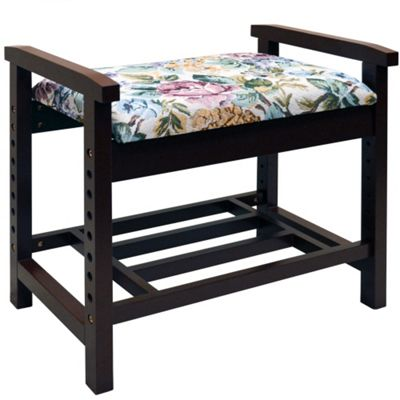 Burlington - Adjustable Height Shoe Storage Bench Seat - Dark Wood