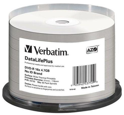 Verbatim DataLifePlus 4.7GB DVD-R 16x Spindle Wide Thermal Professional- No ID Brand (50 Pack)
