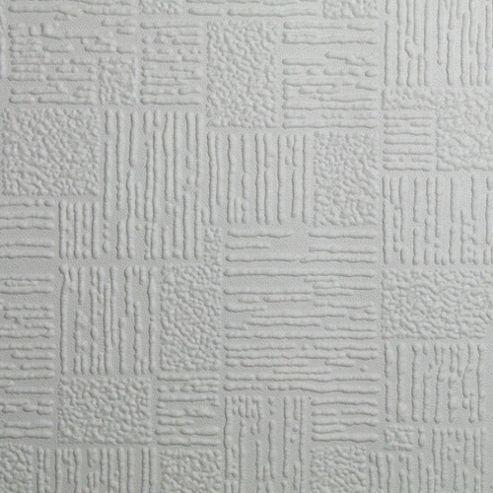 Superfresco Paintable Check Durable Heavy Duty White Wallpaper