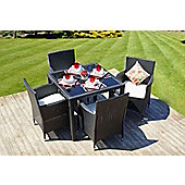 Bilbao Square Rattan 5 Piece Garden Dining Set & 4 Chairs Black