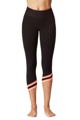 Asymmetric Sports Cropped Leggings Black-Coral 3X