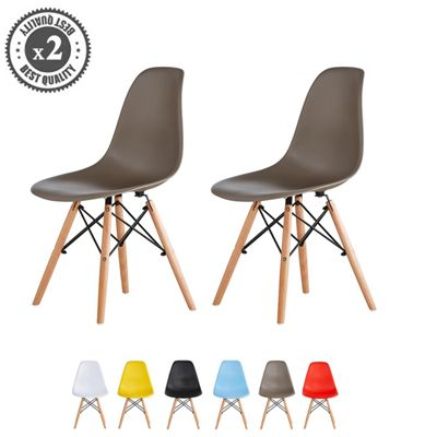 Set of 2 Modern Design Chair Eames Style Dining Chairs (Grey) Lia