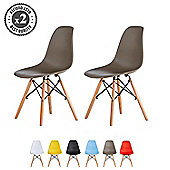 Set of 2 Modern Design Chair Eames Style (Grey)