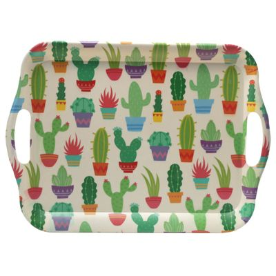 Bambootique Bamboo Serving Tray, Cactus Print