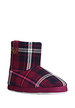 F&F Checked Bootie Slippers - Burgundy