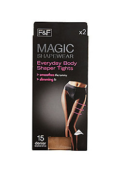 F&F 2 Pack of Magic Shapewear 15 Denier Shaper Tights with Lycra® - Natural