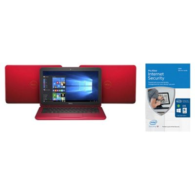 Dell Inspiron 11-3162, 11.6-inch Laptop, Celeron 2GB RAM, 32GB, Red, with McAfee Internet Security 2016 Unlimited Devices - bundle
