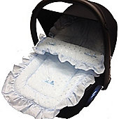 Broderie Anglaise Car Seat Footmuff To Fit graco Junior Baby/Logico Blue