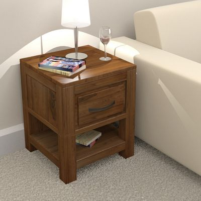 Baumhaus Mayan Walnut 1 Drawer Side Table
