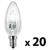Pack of 20 Minisun SES E14 Energy Reducing 28W Clear Candle Bulbs Warm White