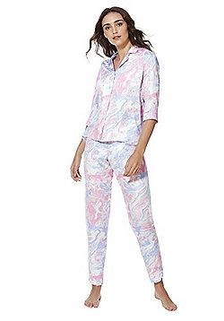 F&F Marble Print Revere Collar Pyjamas - Pink & Multi