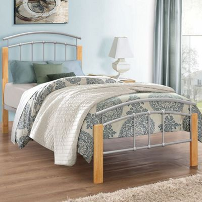 Happy Beds Tetras Wood and Metal Low Foot End Bed with Pocket Spring Mattress - Silver and Beech - 3ft Single