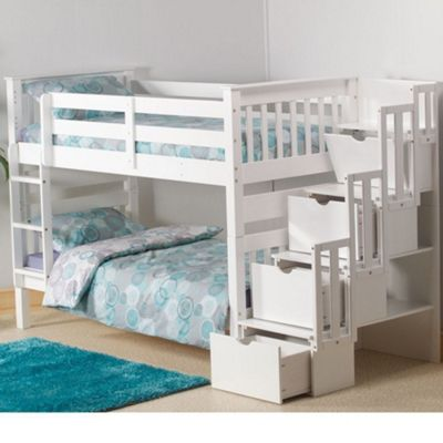Happy Beds Mission Staircase Wood Kids Storage Drawers Bunk Bed - White - 3ft Single