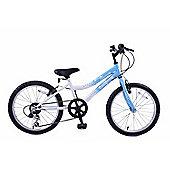 "Ammaco Star Dreamer 18"" Wheel Girls Mountain Bike 6 Speed Blue/White"