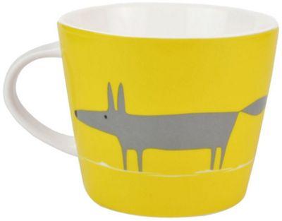 Scion Single Mr Fox Mug, Charcoal & Yellow