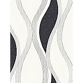Wave Embossed Textured Wallpaper - Black - E62009
