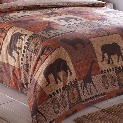 Kruger Safari Park King Size Bedding - Terracotta