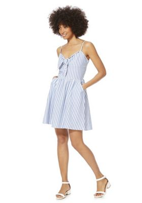 F&F Striped Knot Front Summer Dress Blue/White 12