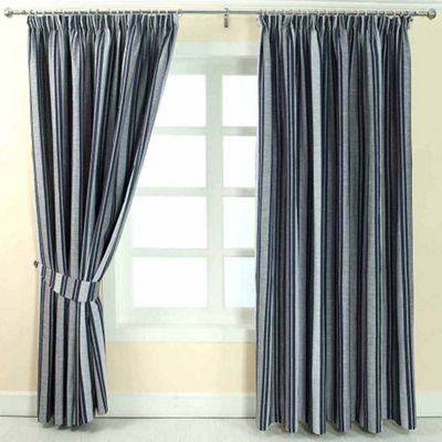 Homescapes Blue Jacquard Curtain Modern Striped Design Fully Lined - 90