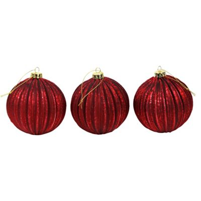 Set of 3 Dark Red Pleated Mercury Glass 10cm Christmas Tree Baubles