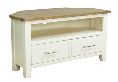 Nebraska Painted - Corner TV Stand / Cream Oak TV Cabinet