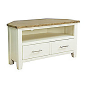 Nebraska Painted Oak Corner TV Stand / Cream Oak TV Cabinet