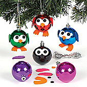 Christmas Owl Metallic Bauble Kits for Children to Design Make and Decorate - Creative Xmas Craft Activity for Kids (Pack of 6)