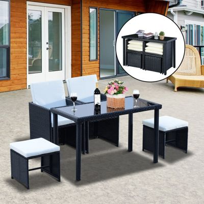 outsunny 5 pcs rattan garden furniture wicker weave sofa set dining black