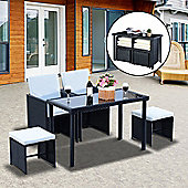 Outsunny 5 PCs Rattan Garden Furniture Wicker Weave Sofa Set Dining (Black)