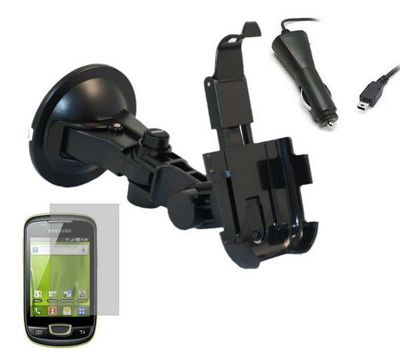 iTALKonline Advanved SUBLIME Holder, Car Charger and LCD Screen Protector - For Samsung S5570 Galaxy Mini