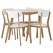 Charlie Round Table and 4 Chair Set, Oak-effect and White