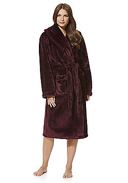 F&F Plush Fleece Dressing Gown - Burgundy
