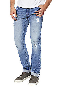 F&F Authentic Selvedge Ripped Slim Leg Jeans - Light wash