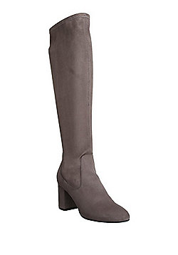 F&F Sensitive Sole Faux Suede Shower Resistant Knee High Boots - Grey