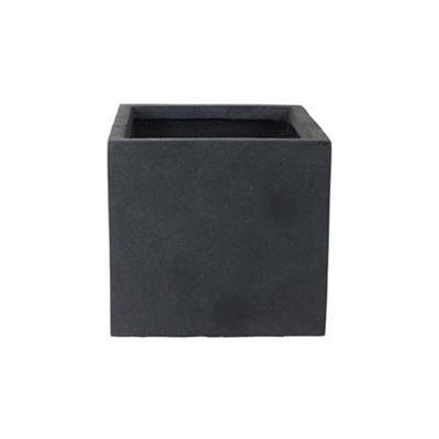 Ivyline Fibre Anthracite Clay Medium Outdoor Square Cube Planter Plant Pot 35cm