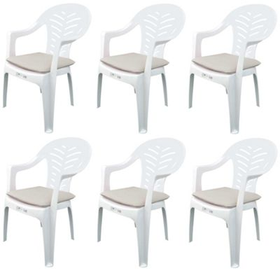 Pack of 6 Garden Chair Cushions - Fits Resol Palma / Cool - Beige