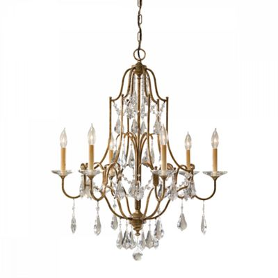 Oxidized Bronze 6lt Chandelier - 6 x 60W E14