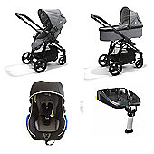 Mee-Go Glide 3 in 1 Travel System with Isofix Base - Grey/Silver