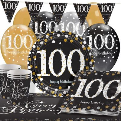 Sparkling Celebration 100th Birthday Party Pack - Deluxe Pack for 16