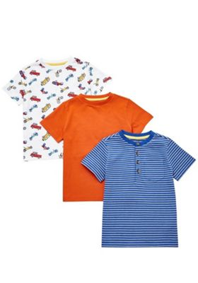 F&F 3 Pack of Grandad Collar T-Shirts Multi 12-18 months