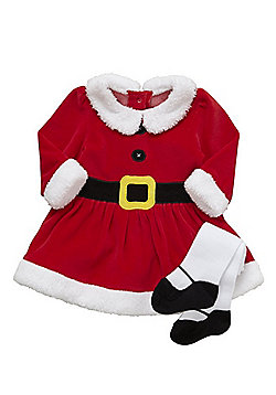 F&F Santa Dress and Tights Set - Red
