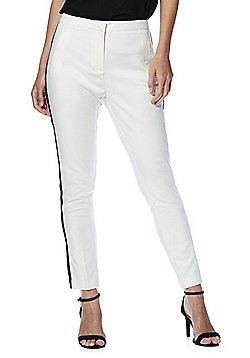 F&F Side Stripe Slim Fit Trousers - White
