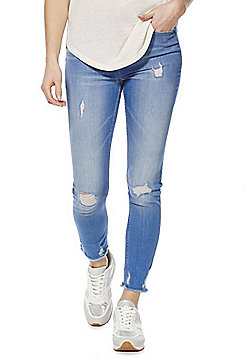 F&F Chewed Hem Distressed Mid Rise Skinny Jeans - Bright blue